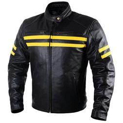 Motorcycle Leather Jacket For Men Black Moto Riding Racer Re