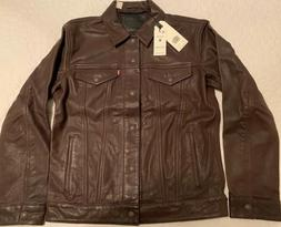 MSRP $400 LEVIS PREMIUM 100% GENUINE LEATHER BROWN TRUCKER J