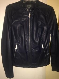Kenneth Cole Reaction Navy Moto Faux Leather Jacket Women'