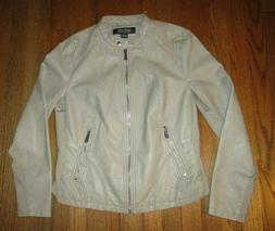 neutral zip front faux leather jacket sz