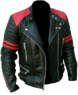 New 100% leather jacket jacket men's slim men's motorcycle l
