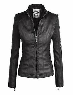 Made By Johnny NEW Black Womens Small S Faux-Leather Motorcy