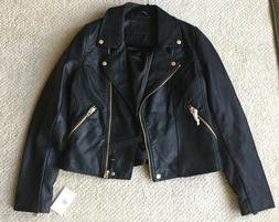 New Blank NYC Life Changer Faux Leather Black Moto Jacket, S