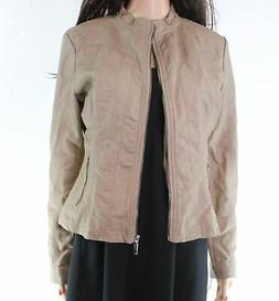 Made by Johnny NEW Brown Faux-Leather Full-Zip Womens Small