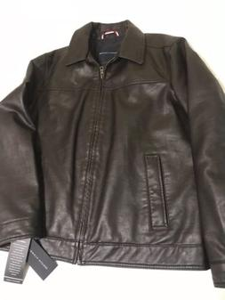 New Brown Leather Tommy Hilfiger Men's Jacket Size Large Ful
