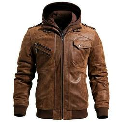New Brown FLAVOR Leather Motorcycle Jacket with Removable Ho