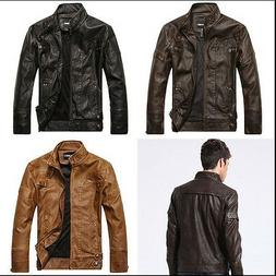 New Fashion Men's Faux leather motorcycle coats jackets wash