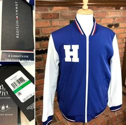 New TOMMY HILFIGER Faux-Leather Varsity Jacket Retro Bomber