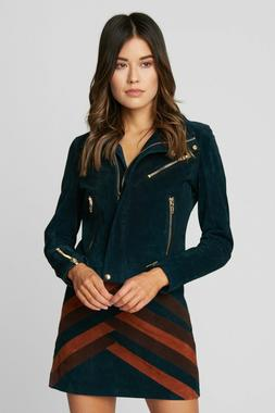 NEW BLANKNYC JACKET SUEDE LEATHER MOTO GALACTIC TEAL BLUE SI
