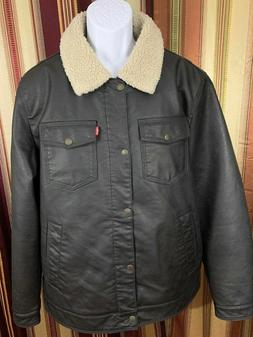 New LEVIS Jacket Bomber Trucker Sherpa Lined Brown Faux Leat