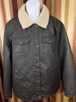 NEW Men Levi's Jacket Bomber Trucker Sherpa Lined Brown Faux
