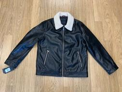 NEW-MEN'S TOMMY HILFIGER CLASSIC LEATHER JACKET,159AU875, BL