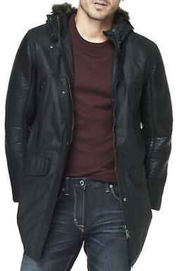 New EXPRESS Men's Faux Leather Hooded Parka Coat Jacket, NWT