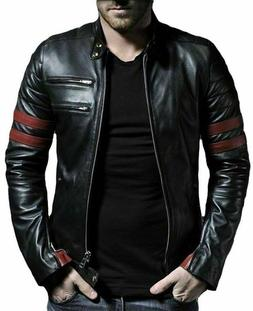 New Men's Leather Jacket Black Slim fit Motorcycle Real lamb