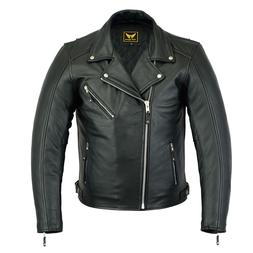 new mens black genuine cowhide leather motorcycle