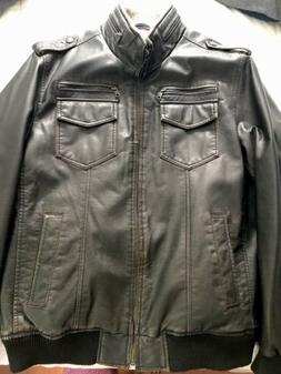 NEW Men's Tommy Hilfiger Bomber Jacket - L Brown Faux Leat