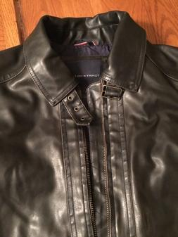 NEW Men's Tommy Hilfiger faux leather brown moto jacket Si