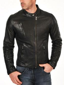 New Mens Leather Jacket Slim Fit Black Motorcycle Coat Biker