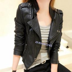 New Motorcycle Biker Women's Faux Leather Short Slim Coats P