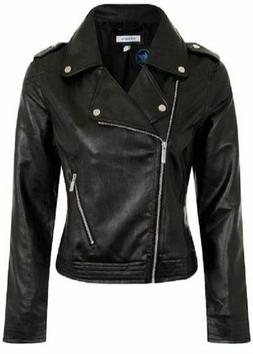 New adidas Originals Womens Faux Leather Biker Jacket ALL SI