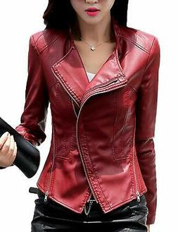 Tanming NEW Red Women's Size Medium M Faux Leather Motorcycl