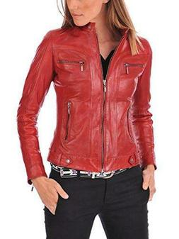 New Style Red Leather Planet Women's Lambskin Leather Bomber