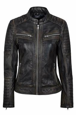 New Women Cafe Racer Moto Biker Distressed Black Vintage Rea