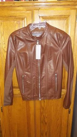 New Kenneth Cole Reaction Women's Cognac Faux Leather Moto J