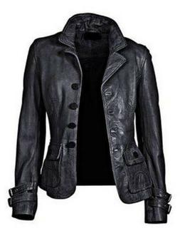 New Women's Genuine Lambskin Soft Leather Motorcycle Slim fi