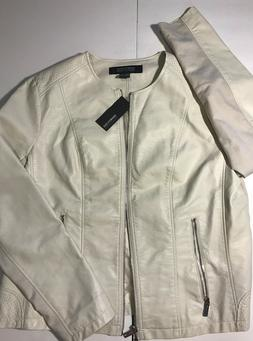 New Kenneth Cole Reaction Women's XXL Ivory Faux Leather Jac