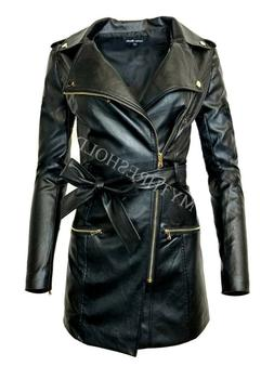 New Women's Zip-up Long Jacket Belt Real Leather Trench Coat