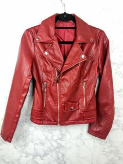 Nordstrom's Tanming PU Faux Leather Moto Jacket XS S Zippere