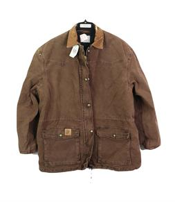 NOS Vtg 90s Carhartt Distressed Leather Collar Lined Chore B