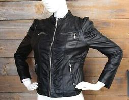 NWOT J2 Kohl's Black Vegan Leather Moto Zip Up Jacket Junior