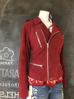 NWT $200 Anthropologie Chaser Leather Lamb Suede Moto Jacket