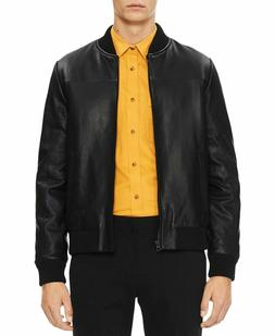 NWT $498 Calvin Klein Men's Genuine Leather Bomber Jacket Bl