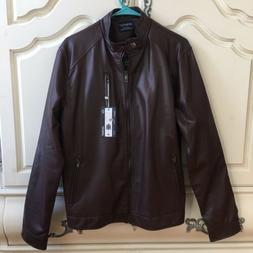 NWT AOWOFS Men's Faux Leather Motorcycle Bomber Brown Winter