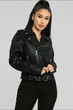 NWT Fashion Nova Black Alexie Moto Vegan Leather Jacket Sz M