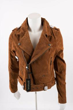 NWT Blank NYC Suede Moto Motorcycle Jacket Leather Brown Med