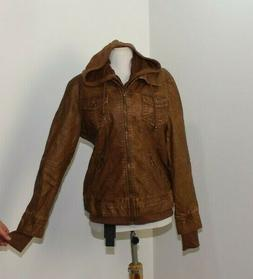 NWT Made by Johnny Faux Leather Zip Layered Hoodie Jacket XL