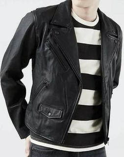 NWT XL Levi's Premium Leather Moto Jacket Men's Black MS