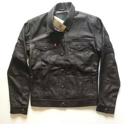 NWT Levi's Men's Classic Brown Faux Leather Trucker Jacket N