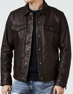 NWT Levi's Leather Trucker Jacket Men's Brown MSRP $398
