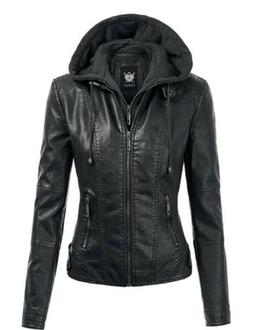 NWT Lock and Love LL Womens Hooded Faux Leather Jacket Black