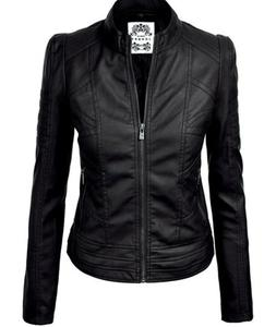 nwt mbj black faux leather biker chic