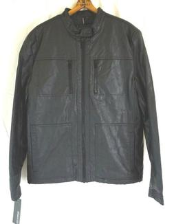 NWT KENNETH COLE REACTION Men's Black Faux Leather Moto Jack