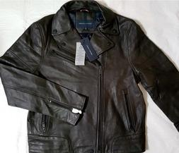 NWT TOMMY HILFIGER MEN'S FALL BROWN LEATHER MOTO JACKET XXL