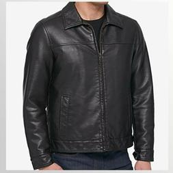 NWT Men's Tommy Hilfiger Faux Leather Bomber Jacket Dark Bro