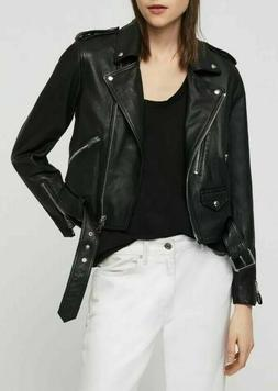 NWT New Allsaints Lexi Black Leather Biker Moto Jacket US 8