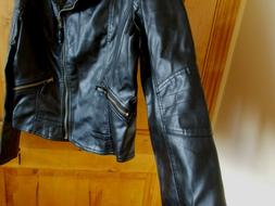 TANMING NWT SIZE L MOTO BIKER JACKET BLACK FAUX LEATHER BUTT